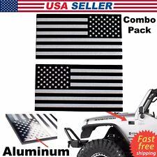 3D METAL American Flag Sticker Decal Emblem Bike, Auto, Truck, Black & Silver