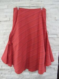 April Cornel Coral Tonal Stripe Textured Cotton French Flared Circle Hem Skirt L
