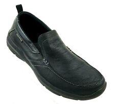 Skechers Men's Size 10 Relaxed Fit Memory Foam Black Leather Slip-On Loafer #Q1