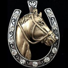 WESTERN COWGIRL RHINESTONE HORSE HORSESHOE MAGNETIC CLOSURE PENDANT