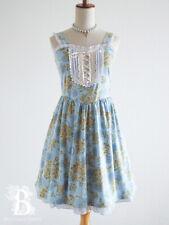 🌹axes femme🌹Victorian Lace-Up Jumper Dress JSK Blue Floral Lolita Japan-M E489
