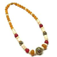 Vintage Lucite Acrylic Marble Beaded Statement Necklace