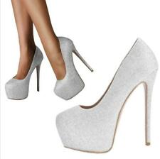 Women Ladies High Heel Round Toe Stilettos Blingbling Party Court Shoes 44/47 L