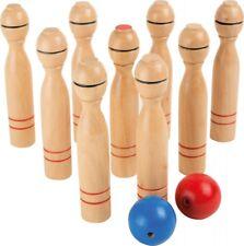 Kegelspiel aus Holz, Kinder kegeln