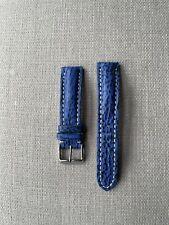 Genuine Shark Skin 20mm Watch Strap - Ocean Blue, Contrast Stitch, Padded