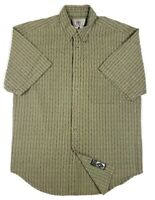 The Territory Ahead Mens L Button Down Collar S/S Casual Shirt Green Striped