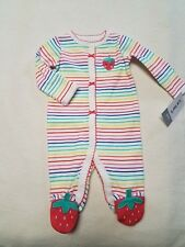 Preemie baby girl footie Carter's stripes w/ strawberry feet
