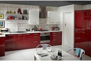 B&Q RAFFELLO High Gloss Red Standard, Tall, Glazed Doors & More!