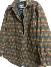Mens Woolrich mustang southwest blanket shirt jacket flannel insulated quilted L