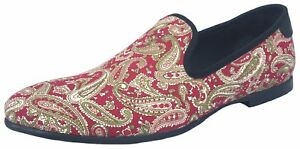 Men's Printed Loafers Slip On Casual Shoes Party Slippers Dress Flats Blue Red