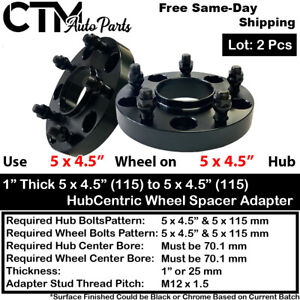 """2PC 1"""" THICK 5X4.5""""(115) 70 HUBCENTRIC WHEEL SPACER ADAPTER FIT NSX S2000 MORE"""