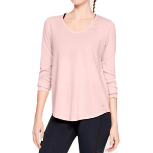 Under Armour UA Pindot Ladies Open Back Light Pink Crew Sports Long Sleeved Top