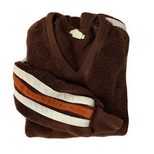 New listing Vintage Men's M/L Terry Cloth Velour Sweater Brown Orange Striped Sleeves Soft
