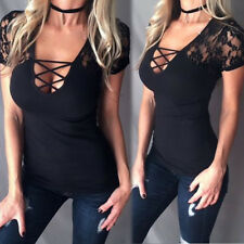 UK Womens T-Shirts Short Sleeve V Neck Girls Bandage Low-cut Tops Blouse