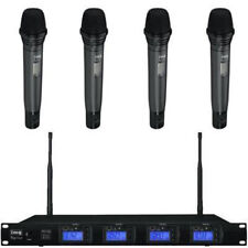 Quad Wireless Microphone System With 4 x Handheld Mics & Reciever