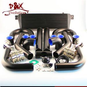 "Universal DIY Intercooler + 2.5"" 63mm Aluminum Piping + BOV Black Hoses kit"