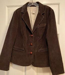 Women's LL Bean Brown Corduroy Blazer Pockets Button Up Long Sleeve Size 16