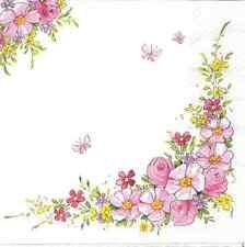 4 Single Paper Napkins for Decoupage Cute Flowers Corner Bouquet