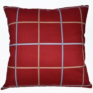 LL315a Red Beige Square Pure Cotton Canvas Fabric Cushion Cover/Pillow Case