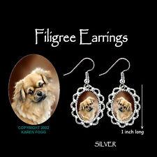 Tibetan Spaniel Dog - Silver Filigree Earrings Jewelry