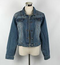 City Chic Classic Denim Jacket Size S 16 Mid Blue Faded Wash Crop Long Sleeve