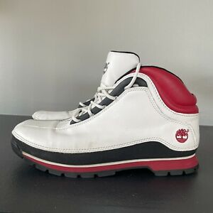 Timberland Mens size 10  Euro Dub Hiker Boots White Red Black Leather 86059