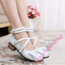 Lolita Womens College Sweet Bowknot Cross Strap Mary Janes Shoes Cosplay Casual