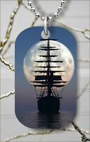 SAIL SHIP MOONLIGHT DOG TAG NECKLACE PENDANT FREE CHAIN -dsb4Z