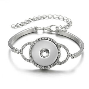 New Women Drill Snap Chain Bracelet Fit 18mm Chunk Charm Button Jewelry