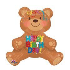 "HAPPY BIRTHDAY Sitting Bear BALLOON Air Fill 17""x 19 Party Decoration No Helium"