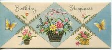 VINTAGE ART NOUVEAU DECO BLACK GOLD PLANTER GARDEN FLOWER BDAY GREETING ART CARD