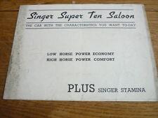 SINGER SUPER TEN SALOON CAR BROCHURE 1939