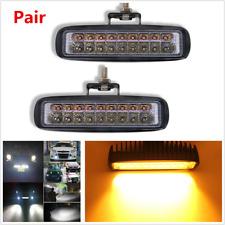 "Pair 6"" 18LED 54W Combo Led Car Off-Road Work Light Bar DRL Fog Lamp Dual Colors"