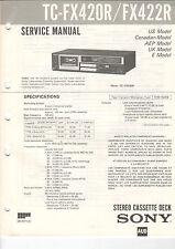 Sony Service Manual la raccolta tc-fx420r/fx422r/fx400 - b2051