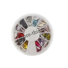 12 colors Glitters Tips Nail Art Rhinestones Diamond shape