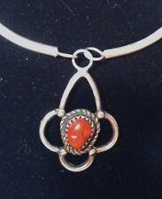 Vintage Native American BENNIE BOWEKATY Coral Pendant Necklace