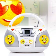 Children CD Player MP3 Stereo System Smiley Sticker USB Music Player Radio Tuner