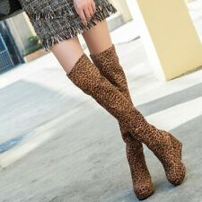 Pull On Autumn Wedge Heels Womens Stretchy Over the Knee Boots Leopard Print Sz