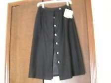 """Evan Picone Black Wool Skirt Lined Sexy Button Front 26"""" Waist Pencil Skirt New"""