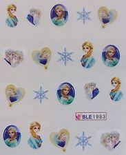 """Nail Art """"FROZEN* Elsa Star Kristoff Heart Girls Water Decal Sticker NEW 1983"""
