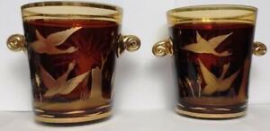 Vintage 2 Crystal Vase USSR Set Vases Gold Painted Glass Home Decor Kitchen Rare