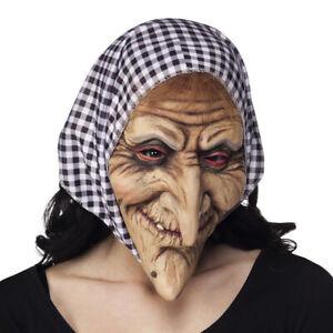 Hexenmaske mit Kopftuch Maske alte Frau Gesichtsmaske Walpurgisnacht Halloween
