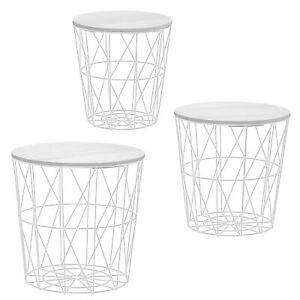 3x Korbtisch Beistelltisch Ø29-40x30-41 Metall Korb Tisch Couchtisch Stauraum