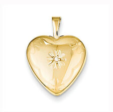 1/20 Gold Filled with Diamond 2-Frame 15mm Heart Locket - Gift Boxed
