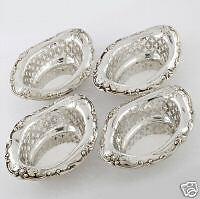 Beautiful 4 Gorham Antique Sterling Silver Pierced Boarder Bon Bon / Nut Dishes
