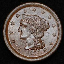 1854 Large Cent: glossy Mint-State coin, very nice