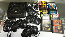 SEGA GENESIS  CONSOLE 4 CONTROLLERS POWER CORD  10 GAMES USED UNTESTED