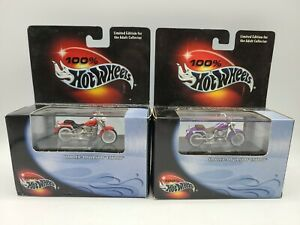 2 Hot Wheels 2000 Harley Davidson Fatboy in Red & Purple 100% Hot Wheels