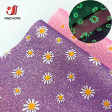 Fluorescent Daisy Floral Fine Glitter Sparkle Faux Leather Fabric Bows Earring