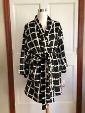 Josie by Natori Women's Plaid Plush Robe, Black, Small - NEW